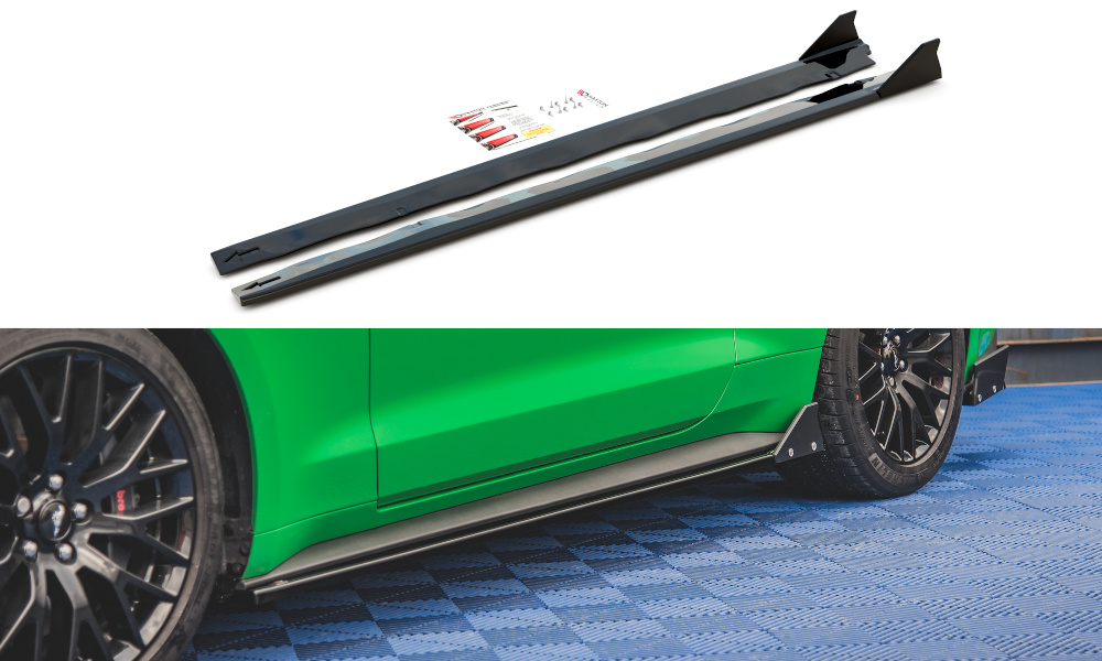 DOKŁADKI PROGÓW+FLAPS FORD MUSTANG GT MK6 FACELIFT - GRUBYGARAGE - Sklep Tuningowy